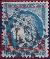 N°60A Position 128D1 Remplaçant, L'unique Remplaçant De La Planche 1, RRR, Bien Centré, Quelques Dents Rognées 1er Choix - 1871-1875 Cérès