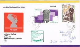 31221. Carta First Flight Boeing 707, ABIDJAN (Costa Marfil) 1978. Aereo Lufthansa To Franfurt - Costa De Marfil (1960-...)