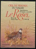 Rare // Etiquette De Vin // Oiseaux // Oeil De Perdrix Du Valais, Le Rose,  Perdrix - Etiquettes