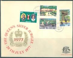 KENYA -  3 FDC's - 20.7.1977 - SILVER JUBILEE ELIZABETH II - Yv 82-85 BLOC 7 8  -  Lot 18891 - WITH EXPLANATION - Kenya (1963-...)
