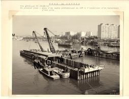 SEVRES - CONSTRUCTION DU PONT DE SEVRES 1959 - 3 PHOTOS H. BARANGER PARIS- 24x18 Cms - Orte