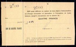 616-Beaucourt Billet De 4 Francs Lettre C ANNULE     R3 - Bons & Nécessité