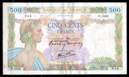 France Billet De 500 Francs 1940 P1606, Rapé Au Centre - 1871-1952 Frühe Francs Des 20. Jh.