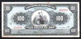616-Pérou Billet De 100 Soles De Oro 1965 A19 - Pérou