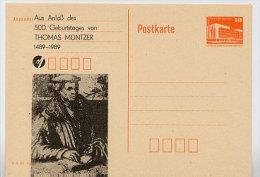 THOMAS MÜNTZER DDR P86II-43-89 C70 Postkarte Privater Zudruck Sangerhausen 1989 - Célébrités