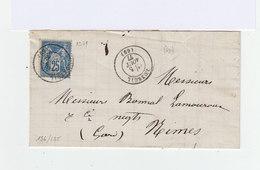 Sur Partie De Pli Type Sage 25 C. Bleu CAD Luxeuil 1877. Pour Nîmes: CAD. (1035x) - Marcophilie (Lettres)