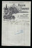 """Ancienne Facture Rhum Chauvet La Compagnie Des Antilles épicerie Centrale L Rolland Argenton Sur Creuse """"1913"""" - Rhum"""