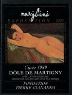 Rare // Etiquette De Vin // Art-Peintue // Dôle De Martigny, Fondation Gianadda, Modigliani - Art