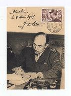 Carte FDC Maréchal De Lattre De Tassigny. Oblitération Mouillon De Paredes Vendée 1952. (1036x) - FDC