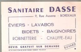 Buvard SANITAIRE DASSE 9, Rue Ausone Bordeaux Eviers, Lavabos, Bidets, Douches .... - Buvards, Protège-cahiers Illustrés