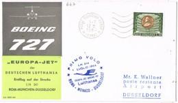 31227.Carta First Flight Boeing 727, ROMA, Fiumicino (Italia) 1964. Aereo Lufthansa To Dusseldorf - 6. 1946-.. Repubblica
