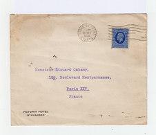 Sur Env. De L'Hôtel Victoria Stavanger, Norvège Norway Timbre Effigie CAD Stoke On Trent 1936. (1039x) - Marcophilie
