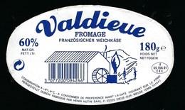 Etiquette Fromage Valdieue Fabriqué Dans La Meuse 55 Henri Hutin Dieue Sur Meuse - Fromage