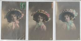 Lot De 3  Cartes Fantaisie Enfant - Portrait Fillette ,  Cheveux Bouclés , Chapeau , - Portraits