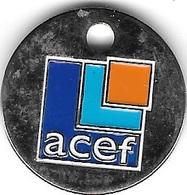 Jeton De Caddie Argenté  A C E F  Verso  Association Pour Le Crédit Et L' Epargne Des Fonctionnaires - Jetons De Caddies