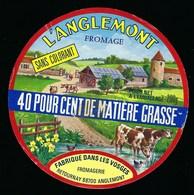 """Etiquette Fromage L'anglemont 40%mg Fabriqué Dans Les Vosges  Fromagerie Retournay Anglemont 88 """"vaches, Ferme, Tour"""" - Fromage"""