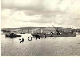 NORMANDE-OCTEVILLE SUR MER - POSE DE CABLES EN MER - 4 PHOTOS HELLEBE ROUEN- 23x16 Cms - Places