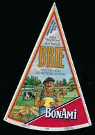 """Etiquette Fromage Brie BonAmi 60%mg  Fabriqué A Asfeld Ardenne 08  """"fermier, Vaches"""" - Fromage"""