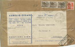 SIRACUSANA £.20X3+10 MICHELANGIOLESCA, TARIFFA RIDOTTA EDITORI,RACCOMANDATA,1962,POSTE ROMA,RIUSO DELLA CARTA,POSTE CAMP - 1961-70: Storia Postale