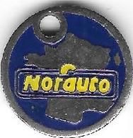 Jeton De Caddie Argenté  Automobile  Magasin  Et  Garage  NORAUTO  Verso  36 15  NORAUTO - Jetons De Caddies