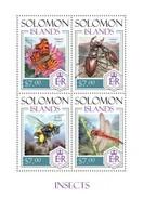 SOLOMON ISLANDS 2014 SHEET INSECTS BUTTERFLIES BEETLES DRAGONFLIES BEES INSECTOS ESCARABAJOS AVISPAS PAPILLONS Slm14204a - Salomon (Iles 1978-...)