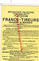 94- IVRYSUR SEINE- MUSEE AFFICHE ET TRACT-LA COMMUNE DE PARIS 1871- FANCS TIREURS ECLAIREURS DE MONTROUGE - Ivry Sur Seine