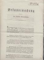 Bayern Bekanntmachung Landes-Vermessung 1832 - Historische Dokumente