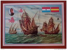 Paraguay 1987 - 500 Anniversary Discovery America - Sheet A Mi444 MNH - Ship Sail Columbus Ocean Deluxe Rare - Paraguay
