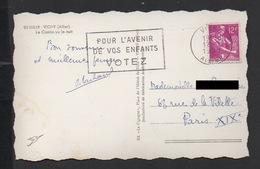 """DF / FLAMME """" POUR L' AVENIR DE VOS ENFANTS VOTEZ """" / TP 1116 TYPE MOISSONNEUSE / 1958 - Oblitérations Mécaniques (flammes)"""