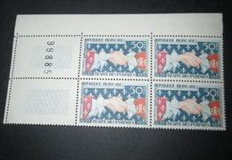 TIMBRE France 1959 Neuf** N° 1223 (50F) Traité Des Pyrénées   Bloc De 4 - Blocs & Feuillets