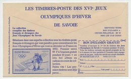 Postal Cheque Cover France 1990 Stamp - Skiing - Winter Olympic Games - Filatelie & Munten