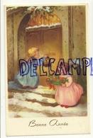 Bonne Année. Deux Anges Devant Un Porte Dans La Neige, Lanterne, Panier, Champignons, Trèfles. 1956. Dorée - Nouvel An