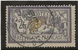 TYPE MERSON - N° 122 OBLITERE -2 FRS VIOLET ET JAUNE -  ANNEE 1900 - COTE : 90 € - France