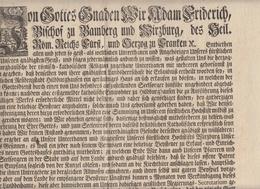 Bayern Adam Friedrich Bischof Zu Bamberg Und Würzburg Brief Beisteuer Gotteshaus In Hildburghausen 1774 - Historische Dokumente