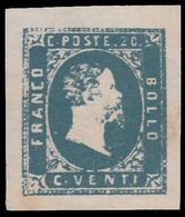 Italia: Antichi Stati - Sardegna - Effige Vittorio Emanuele II - 20 C. Azzurro - 1851 - Sardegna