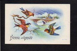 Nouvel An,Voeux,Bonne Année / Maxi Mignonnette / Paysage,oiseaux,pont - Nouvel An