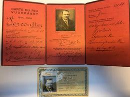 VUURKAART + LIDKAART MINISTERIE VAN VERKEERSWEZEN VERCOUTTER MEDARD ADINKERKE 1914 1918 ARMEE BELGE BELGISCH LEGER - 1914-18