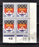 FRANCE 1958 - BLOC DE 4 COIN DE FEUILLE / DATE / Y.T. N° 1183 - NEUFS** - Coins Datés