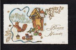 Nouvel An,Voeux,Bonne Année / Maxi Mignonnette / Paysage,oiseaux,paillettes - Nouvel An