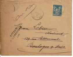 """1896 -Bû Pour Boulogne/Seine -Tp Sage 15ct Type II - Cachet """"RETOUR A L'ENVOYEUR""""+verso """"PARTI SANS LAISSER D'ADRESSE"""" - Marcophilie (Lettres)"""