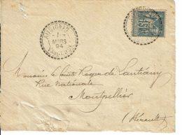 """1894 - Cachet De Recette De Distribution """"AUBIGNAN"""" Sur Tp Sage 15ct Type II  - (DEVANT D'ENVELOPPE) - Marcophilie (Lettres)"""