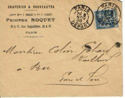 """1900 - Lettre De Paris Pour Bû - Tp Sage 15ct Type II  - Cachet """"PARIS DEPART"""" - Marcophilie (Lettres)"""