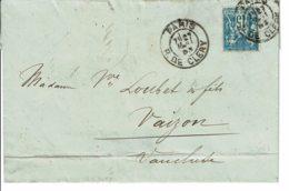 """1893 - Lettre Enveloppe De Paris Por Vaison - Tp Sage 15ct Type II (n°101) - Cachet Rcette """"PARIS - R. DE CLERY"""" - Marcophilie (Lettres)"""