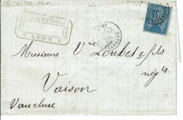 1880 - Lettre De Lyon Les Terreaux Pour Vaison - Tp Sage 15ct Type II (n°90a) Bleu/bleu - Voir Verso Convoyeur Jour - Marcophilie (Lettres)