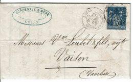 1890 - Lettre De Rouen Pour Vaison - Tp Sage 15ct Type II (n°90) Bleu Très Foncé/bleu - Voir Verso Convoyeur Jour - Marcophilie (Lettres)