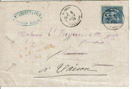 """1878 - Lettre De Vaison Pour Amiens - Tp Sage 15ct Type II (n°90) - Cachet Rouge """"RETOUR A L'ENVOYEUR"""" - VOIR VERSO - Marcophilie (Lettres)"""