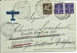 VE3Cb200-Lettera Posta Aerea Per Vittorio D'Africa Poi Rispedita Ad Asmara Con 50 Cent + 2x 1 £ Allegorici 4.12.1938 - Storia Postale