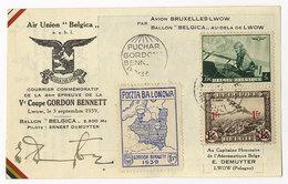 Belgien, Ballonpost, Ballon Belgica,Gordon Bennett 1939, Lwow Polen - Poste Aérienne