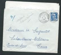Lac Affranchie Par 15 Francs Gandon Oblitération Cad De Cercy La Tour / Nievre EN AOUT 1954     - Tab14710 - 1945-54 Marianne De Gandon