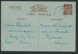 ENTIER YVERT CP1 Sans Valeur ( Sur Bleu Oblitéré Cercy La Tour / Nievre  Janvier 1941  Pr L(algérie     Tab14717 - Marcophilie (Lettres)